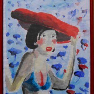 Frau mit rotem Hut, 2015, Aquarell auf Papier