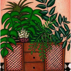 Pflanzen auf Kommode 1, 2020, Buntstifte auf Papier
